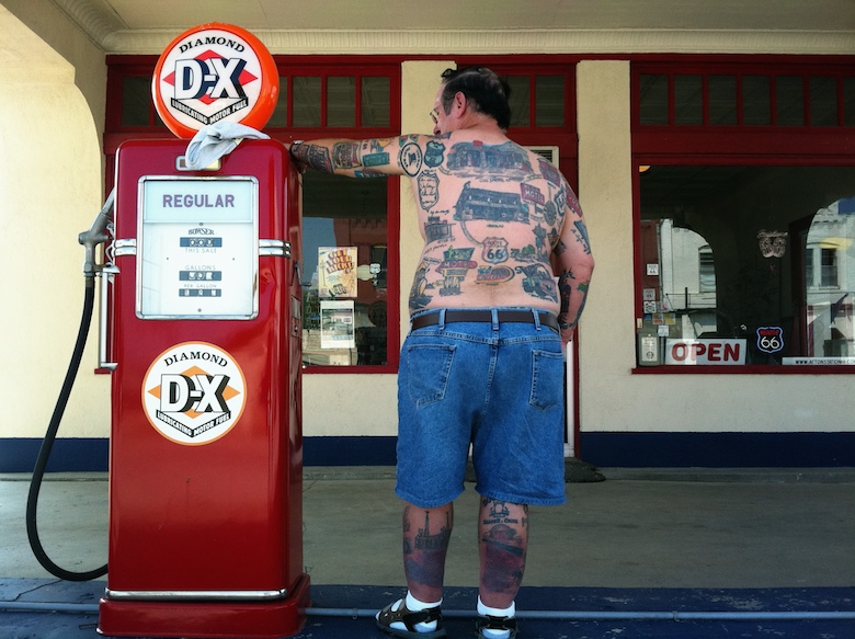 The Tattoo 66 Man at Afton's Eagle Service Station