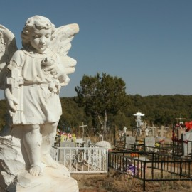 Tin sheet tombstones in a tiny New Mexico cemetery